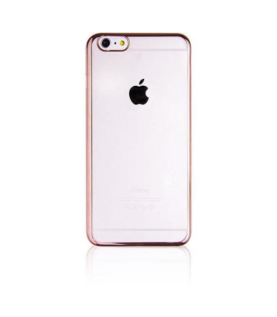 Θήκη Σιλικόνης Με Διάφανη Πλάτη Και Ροζ-Χρυσό Περίγραμμα (IPhone 6/6S)