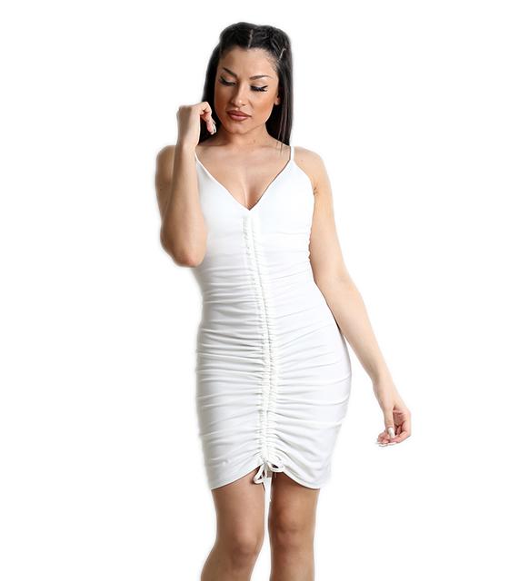 Λευκό φόρεμα με σούρα στην μέση και επένδυση