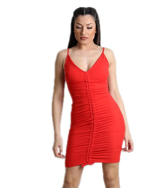 Κόκκινο φόρεμα με σούρα στην μέση και επένδυση