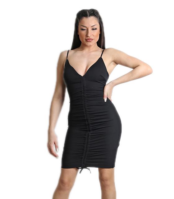 Μαύρο φόρεμα με σούρα στην μέση και επένδυση