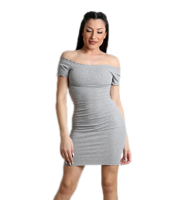 Φόρεμα ριπ ελαστικό (Γκρι)