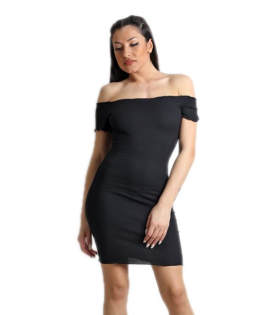 Φόρεμα ριπ ελαστικό (Μαύρο)