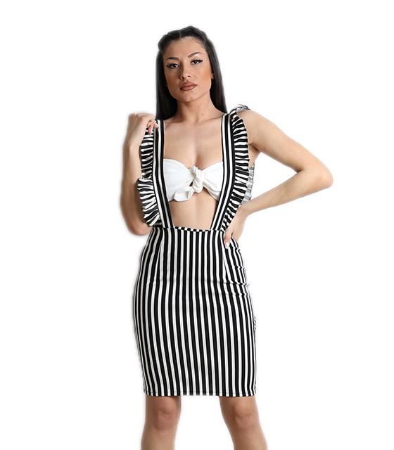 Φούστα με τιράντες και λευκό μπούστο (Άσπρο/Μαύρο)