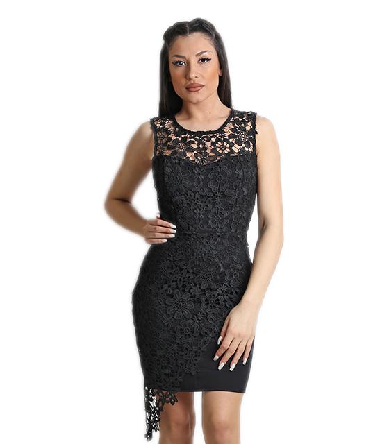 Μίνι φόρεμα δαντελένιο με φερμουάρ και επένδυση (Μαύρο)