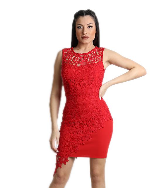 Μίνι φόρεμα δαντελένιο με φερμουάρ και επένδυση (Κόκκινο)