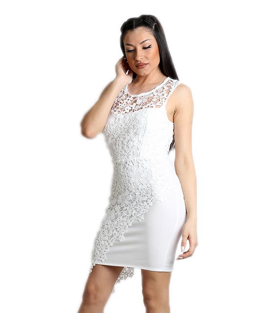 Μίνι φόρεμα δαντελένιο με φερμουάρ και επένδυση (Λευκό)
