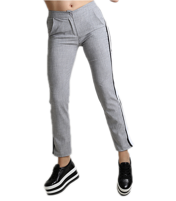 Ψηλόμεσο παντελόνι με ρίγα στο πλάι και τσέπες (Γκρι)