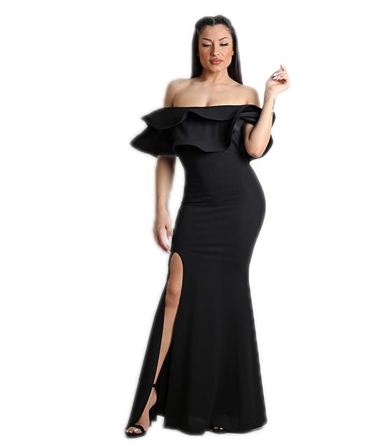 Μάξι φόρεμα με βολάν και σκίσιμο στο πλάι (Μαύρο) ρούχα   φορέματα