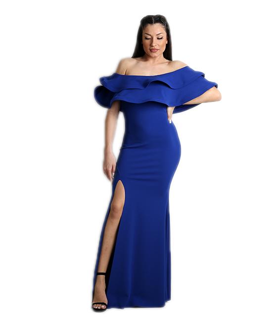 Μάξι φόρεμα με βολάν και σκίσιμο στο πλάι (Μπλε)