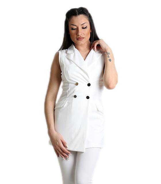 Λευκό γιλέκο με ρελιαστές τσέπες και κουμπιά