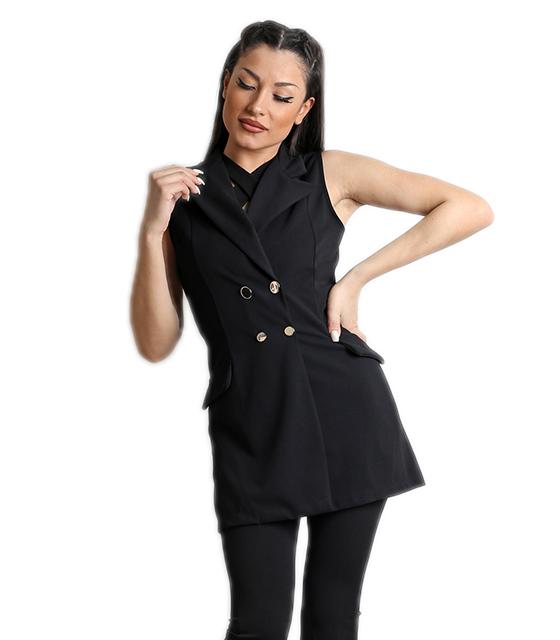 Μαύρο γιλέκο με ρελιαστές τσέπες και κουμπιά