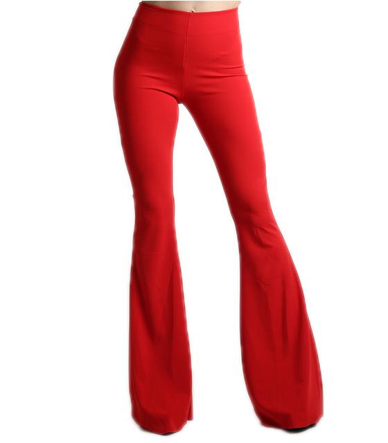 Κόκκινη παντελόνα καμπάνα με κρυφό φερμουάρ ρούχα   bottoms   παντελόνια