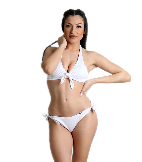 Μαγιό μπικίνι σετ ριπ με δέσιμο στο στήθος (Λευκό)