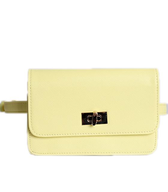 Κίτρινη τσάντα δερματίνη με χρυσό κούμπωμα και φερμουάρ στο πίσω μέρος