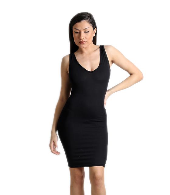 Μαύρο μίνι φόρεμα με ανοιχτή πλάτη