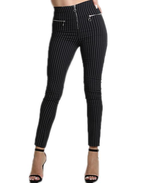 Ψηλόμεσο παντελόνι ριγέ με φερμουάρ (Μαύρο)