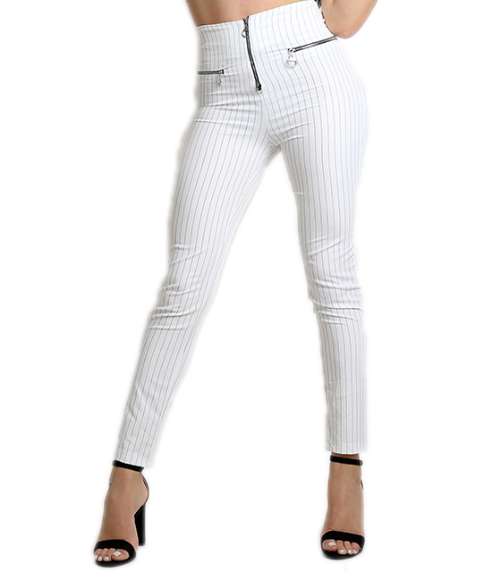 Ψηλόμεσο παντελόνι ριγέ με φερμουάρ (Λευκό)