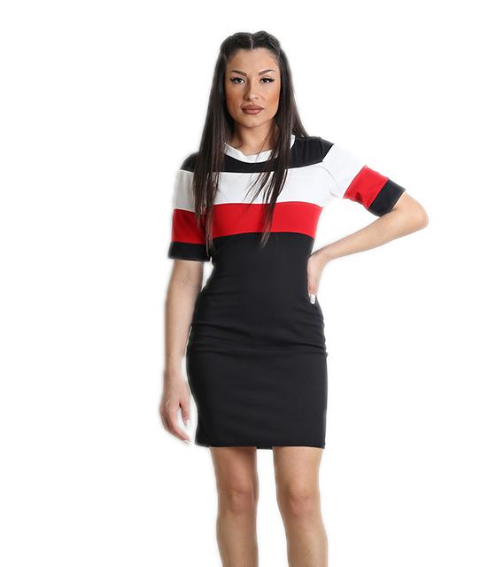 Μαύρο φόρεμα εφαρμοστό με λωρίδες