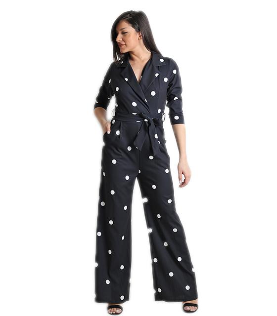 Ολόσωμη φόρμα πουά με γιακά και ζώνη (Μαύρο)