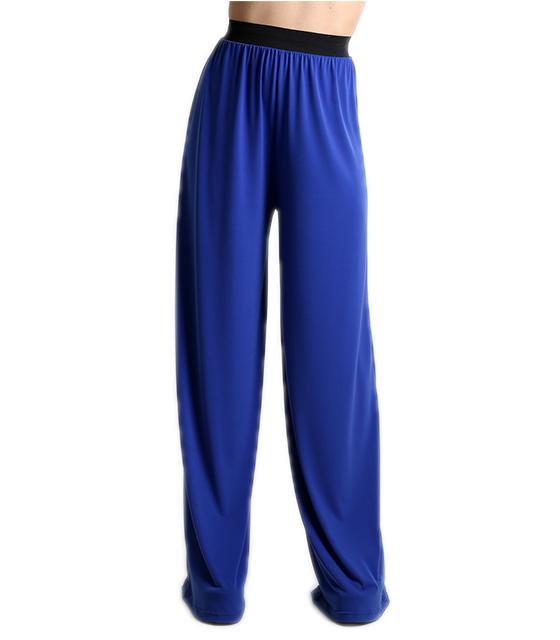 Μπλε ψηλόμεση παντελόνα με λάστιχο