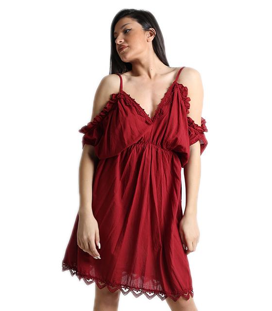 Μπορντό φόρεμα με σούρα και κεντετή λεπτομέρεια