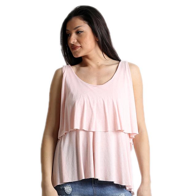 Αμάνικη ροζ μπλούζα με ανοιχτή χιαστή πλάτη