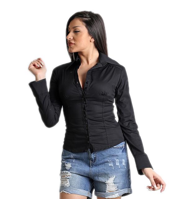 Μαύρο πουκάμισο με γιακά