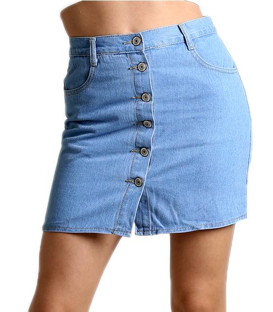 Μίνι τζιν φούστα με κουμπιά και τσέπες