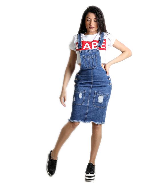 Τζιν σαλοπέτα φούστα με κουμπιά στο πλάι