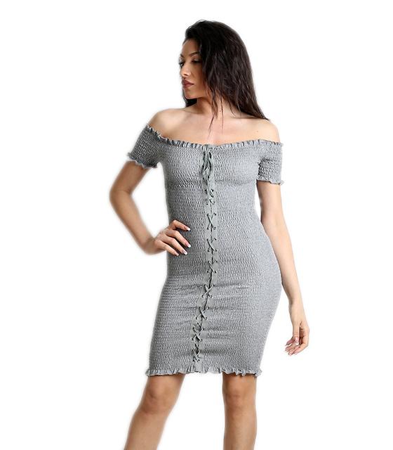 Γκρι φόρεμα εφαρμοστό με δεσίματα ρούχα   φορέματα