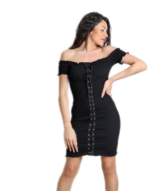 Μαύρο φόρεμα εφαρμοστό με δεσίματα