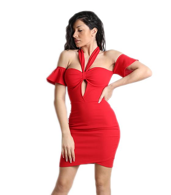 Κόκκινο φόρεμα μίνι με κρυφό φερμουάρ και δέσιμο