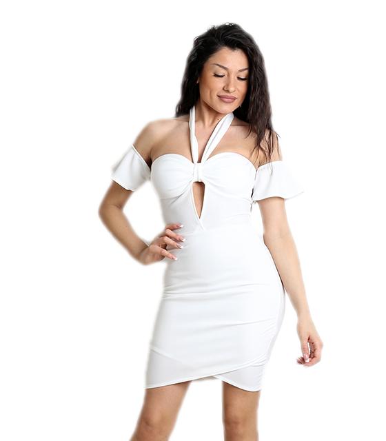Λευκό φόρεμα μίνι με κρυφό φερμουάρ και δέσιμο ρούχα   φορέματα