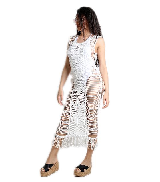 Πλεκτό φόρεμα παραλίας (Λευκό)