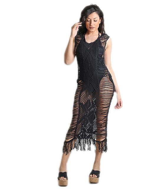 Πλεκτό φόρεμα παραλίας (Μαύρο)