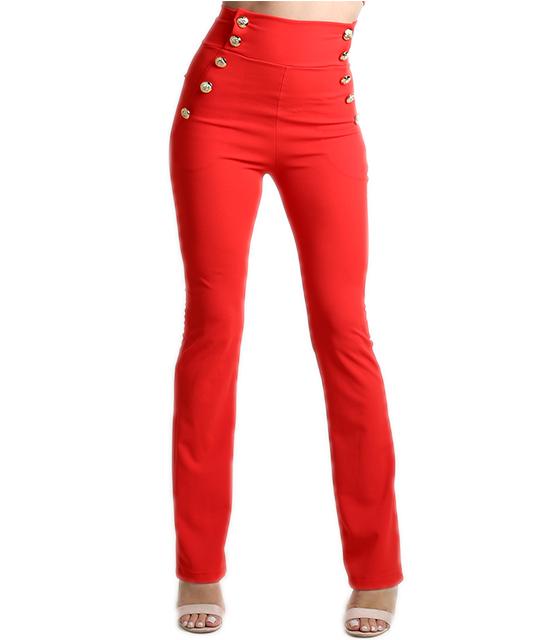 Κόκκινη ψηλόμεση παντελόνα με κουμπιά