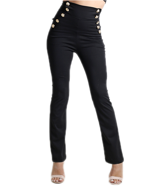 Μαύρη ψηλόμεση παντελόνα με κουμπιά