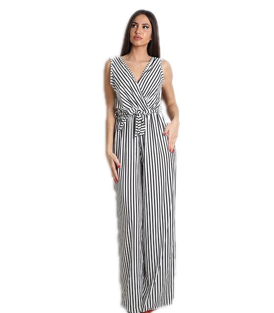 Ολόσωμη φόρμα κρουαζέ ριγέ με ζώνη (Λευκό-Μαύρο) ρούχα   ολόσωμες φόρμες