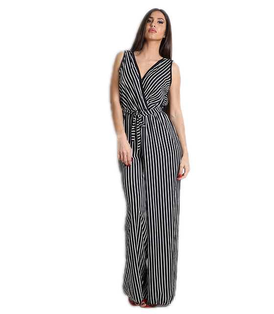 Ολόσωμη φόρμα κρουαζέ ριγέ με ζώνη (Μαύρο-Λευκό) ρούχα   ολόσωμες φόρμες