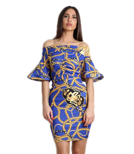 Μπλε φόρεμα εμπριμέ με δέσιμο στην πλάτη