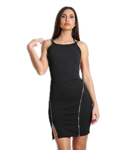Μαύρο μίνι φόρεμα με φερμουάρ στο μπροστινό μέρος και ανοιχτή πλάτη