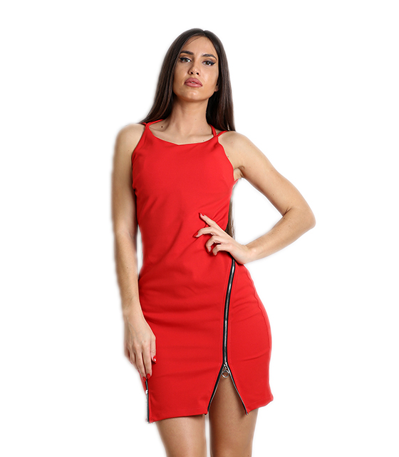 Κόκκινο μίνι φόρεμα με φερμουάρ στο μπροστινό μέρος και ανοιχτή πλάτη ρούχα   φορέματα