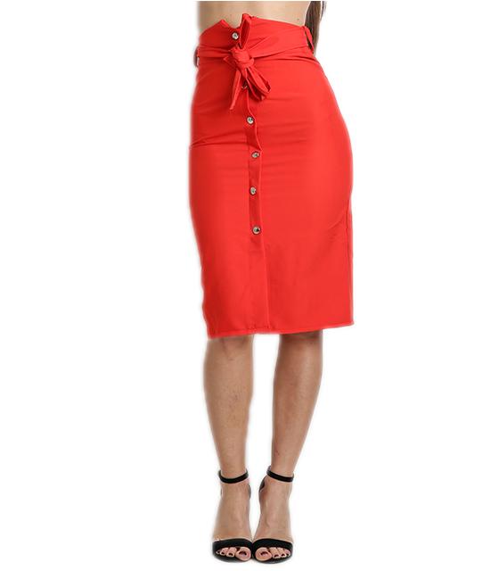 Κόκκινη φούστα ψηλόμεση με ζώνη