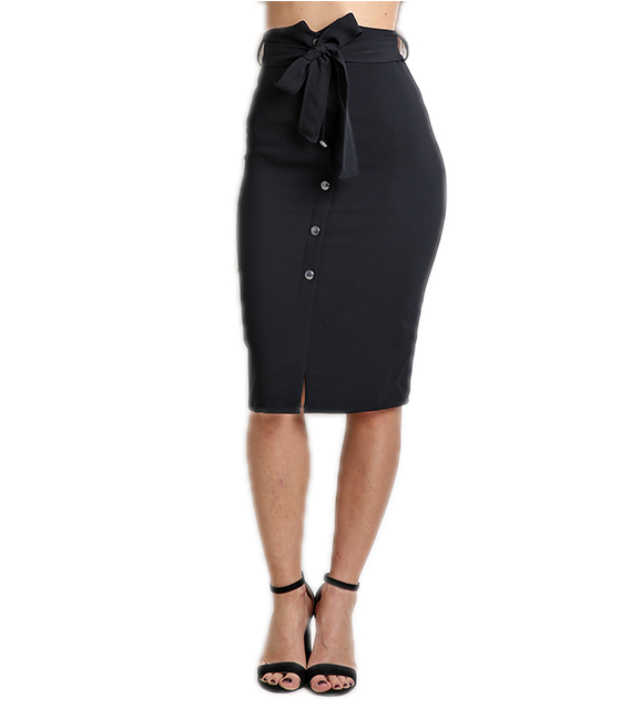 Μαύρη φούστα ψηλόμεση με ζώνη