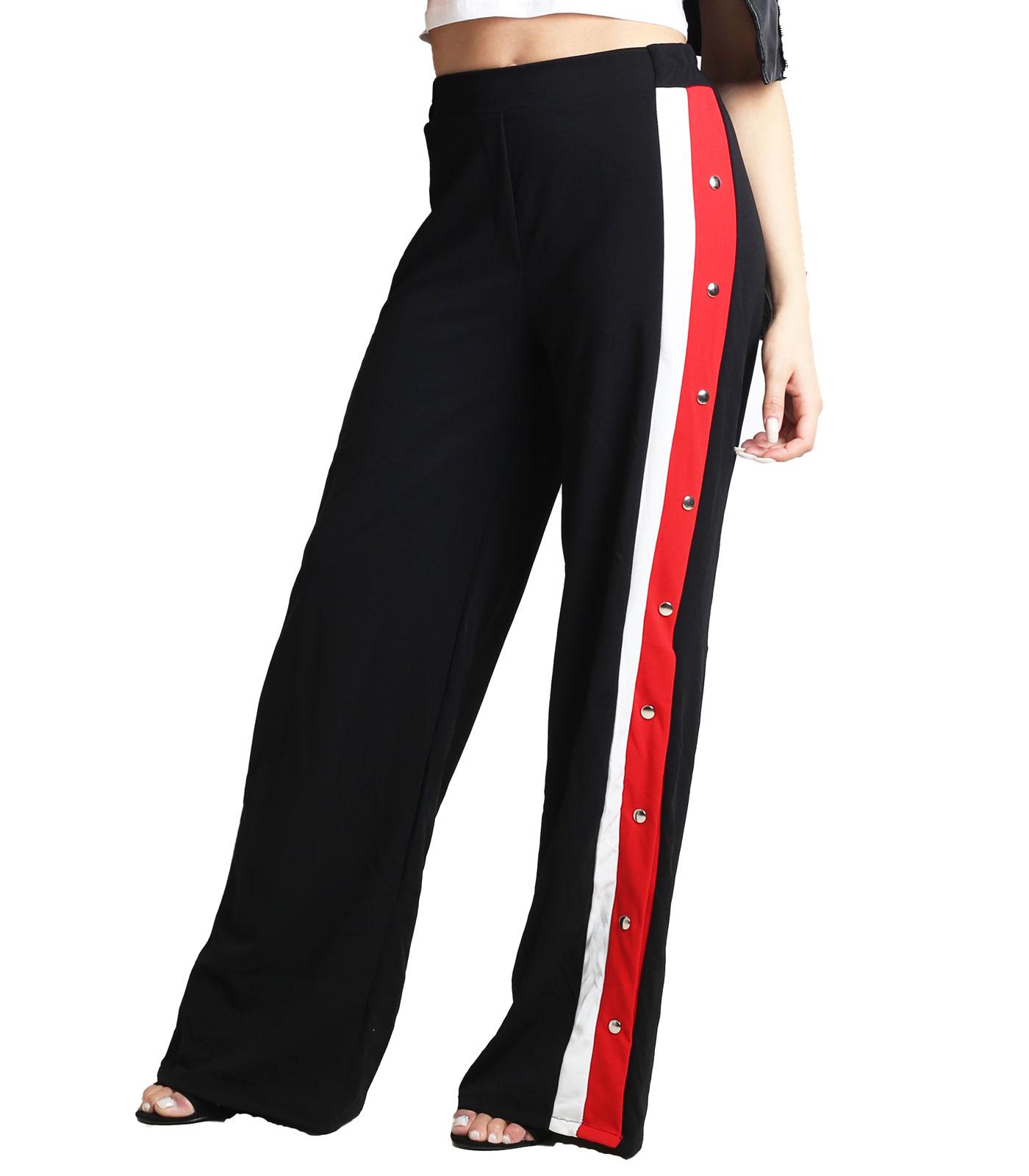 Ψηλόμεσο παντελόνι με ρίγες στο πλάι και κουμπιά  Μαύρο 95  POLYESTER 5 ELASTICO