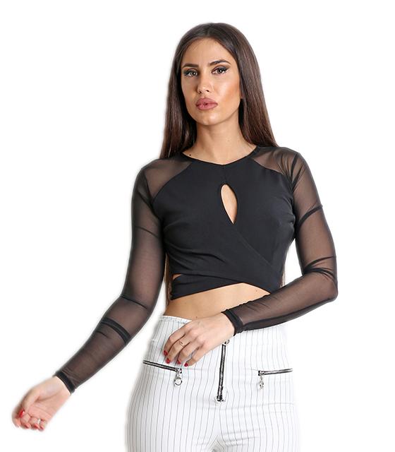 Μαύρη μπλούζα/τοπ με διαφάνεια μανίκι