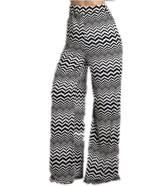 Ασπρόμαυρη ριγέ παντελόνα ψηλόμεση με ζικ ζακ μοτίβο