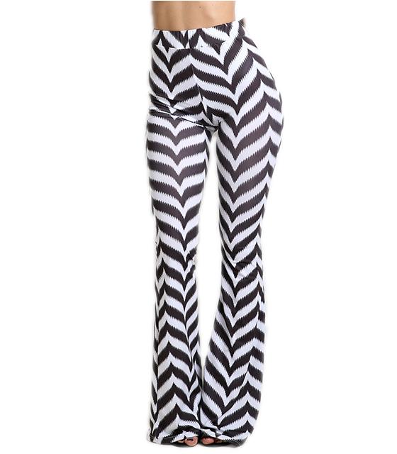 Ριγέ παντελόνα ψηλόμεση με ζικ ζακ μοτίβο (Ασπρόμαυρη)