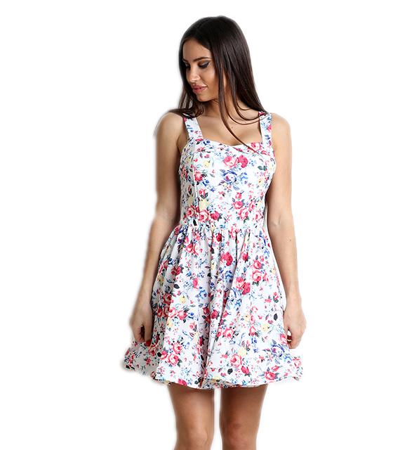 Λευκό φόρεμα φλοράλ με επένδυση