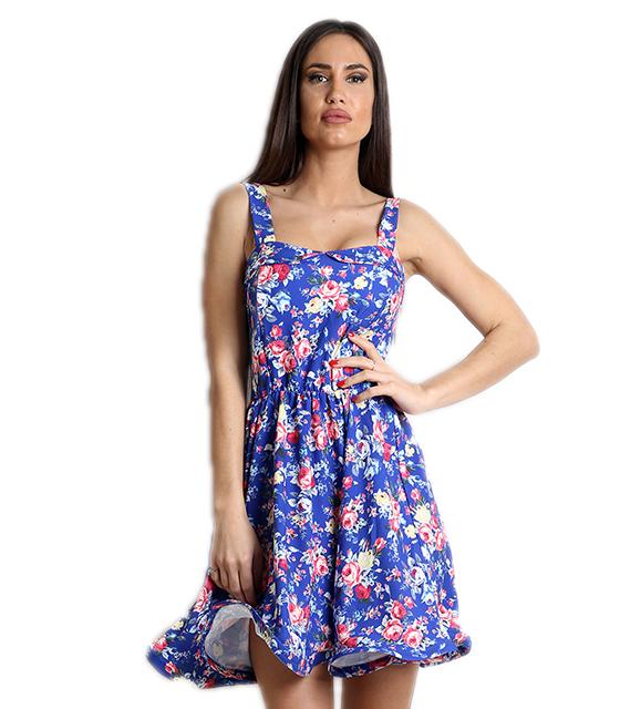 Μπλε φόρεμα φλοράλ με επένδυση